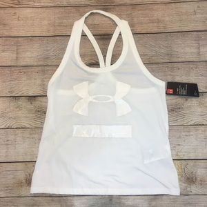 Under Armour White Racer Back Tank Top Size Medium